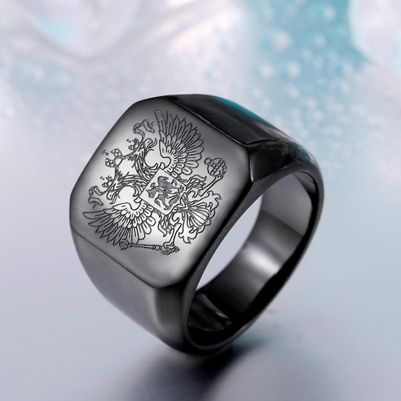 【特A品】【送料無料】※高級感 アクセサリー ローマ帝国 双頭の鷲 リング (16号~29号) ステンレス メンズ 指輪 ブラック 新品