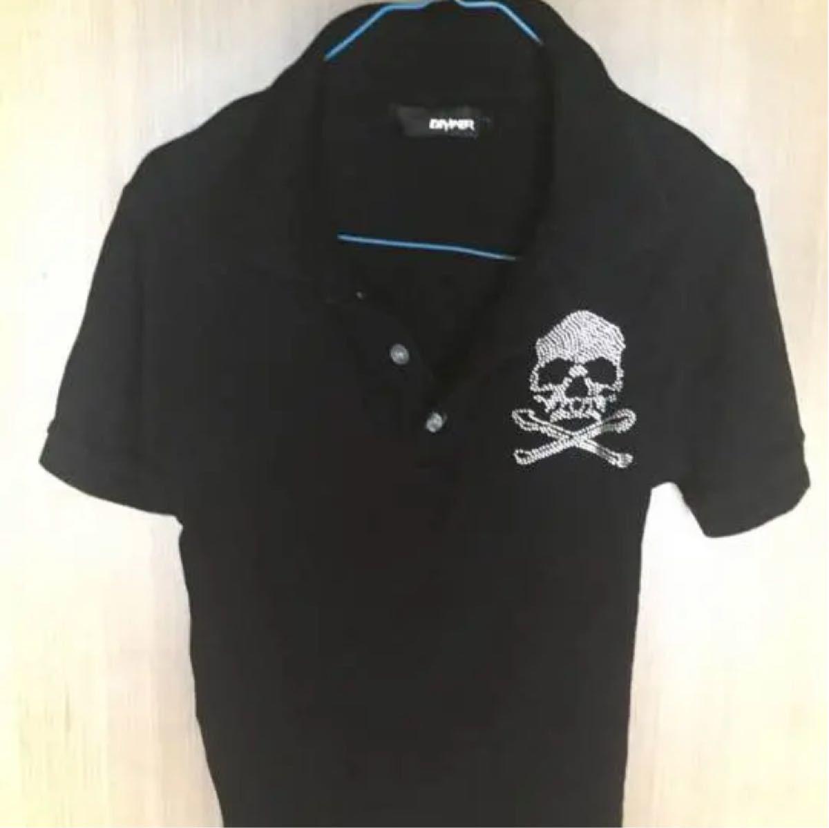 ポロシャツ DIVINER japan スカル 黒 半袖シャツ