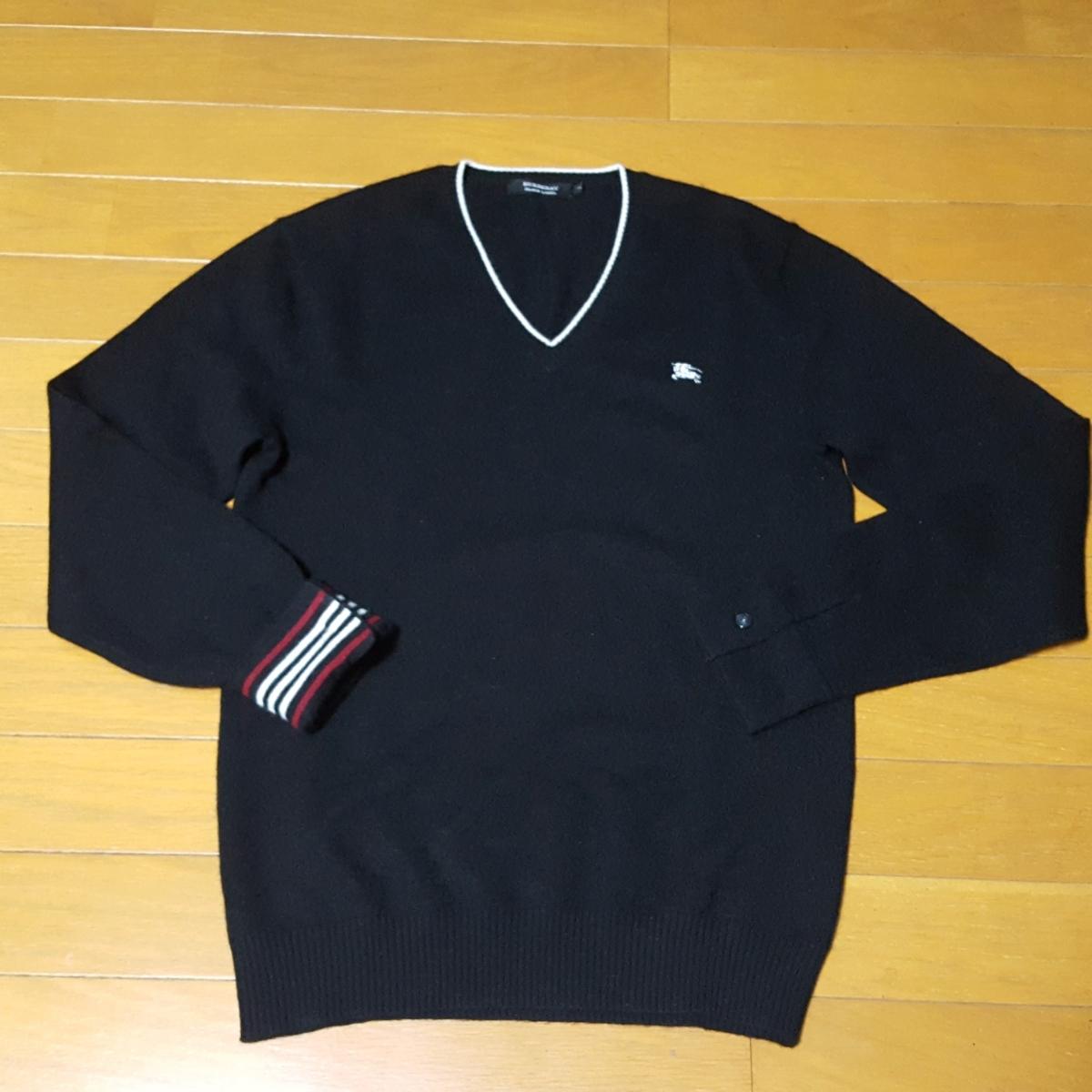 美品・最高級 バーバリーブラックレーベル ホワイトホース刺繍 袖裏バーバリーライン カシミヤ100% Vネック ニットセーター 黒 M