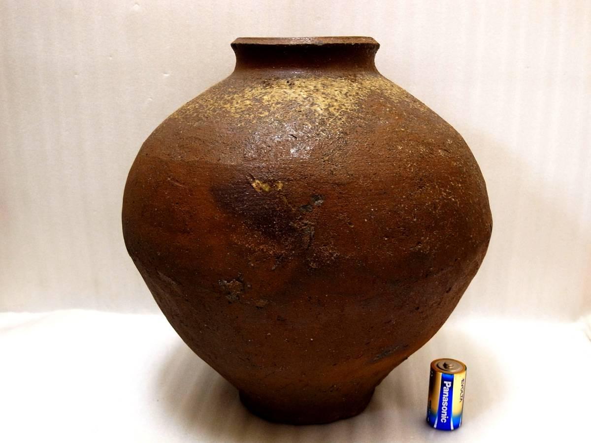4★日本六古窯 姿の良い 室町期は十分に有る 常滑焼 灰降 焼締 35センチ 種壷