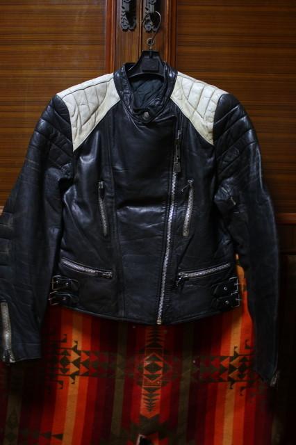 黒×白 70s ~ ビンテージ UK ロンジャン ライダース レザー ジャケット ■ ■ ■ モーターサイクル 旧車 PUNK ルイスレザー イギリス USA_画像1