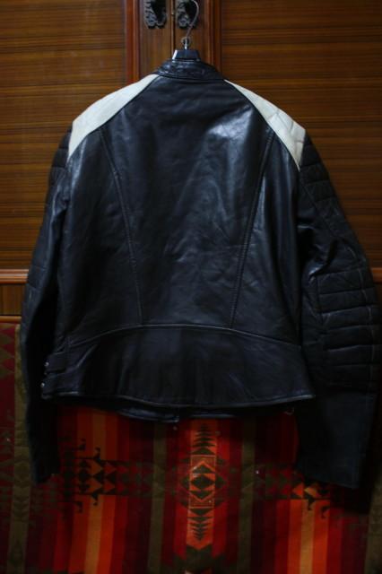 黒×白 70s ~ ビンテージ UK ロンジャン ライダース レザー ジャケット ■ ■ ■ モーターサイクル 旧車 PUNK ルイスレザー イギリス USA_画像3