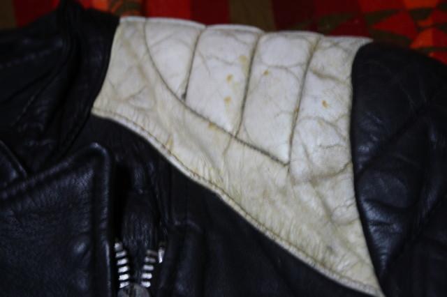 黒×白 70s ~ ビンテージ UK ロンジャン ライダース レザー ジャケット ■ ■ ■ モーターサイクル 旧車 PUNK ルイスレザー イギリス USA_画像7