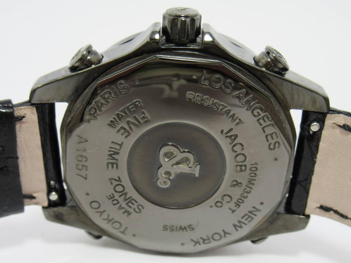 ジェイコブ JACOB&CO ファイブタイムゾーン JCM-2BCDA 純正ダイヤ メンズ クォーツ ラウンド 黒文字盤 箱付き 時計 CZ3141_画像4