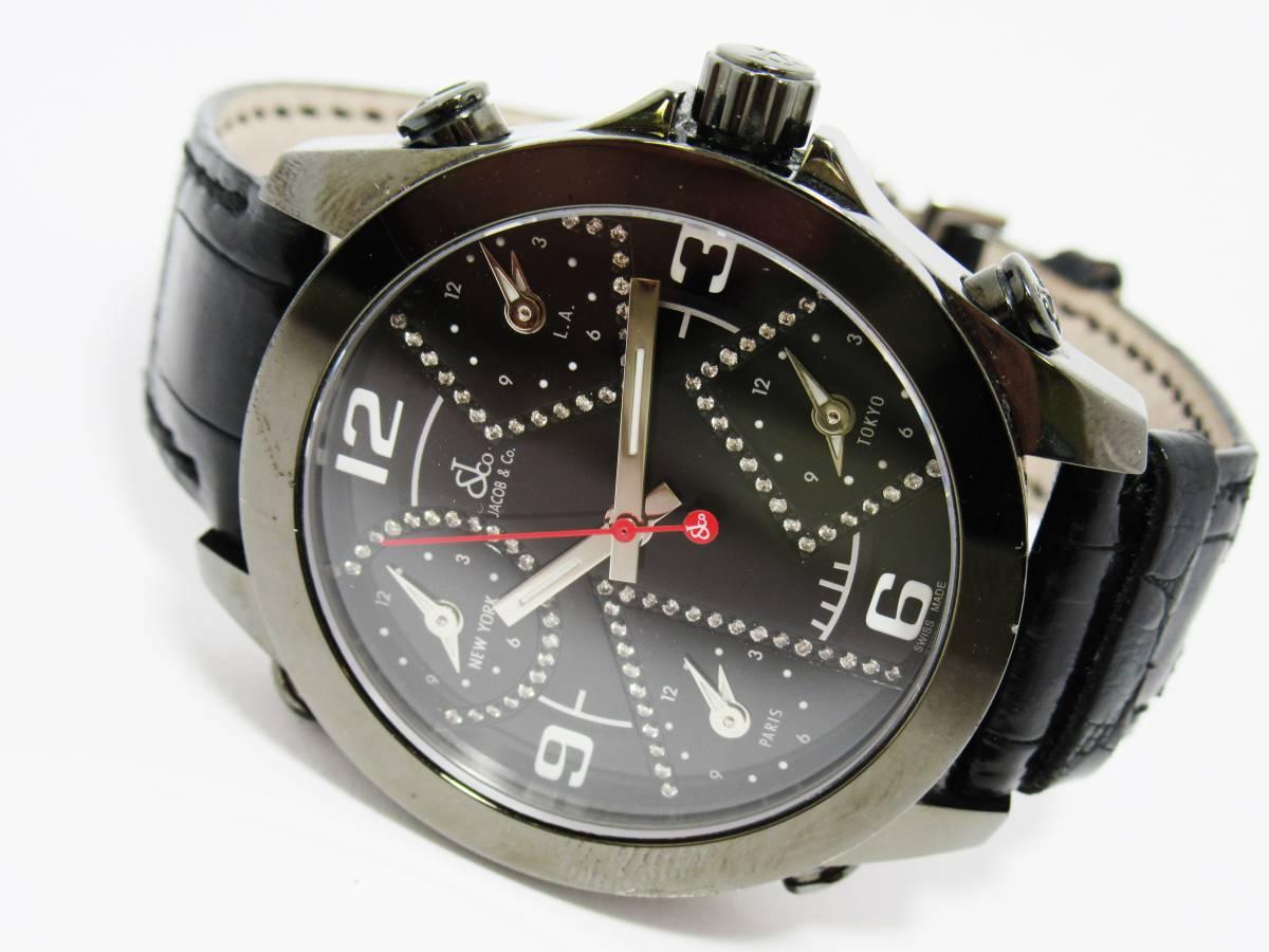 ジェイコブ JACOB&CO ファイブタイムゾーン JCM-2BCDA 純正ダイヤ メンズ クォーツ ラウンド 黒文字盤 箱付き 時計 CZ3141_画像2