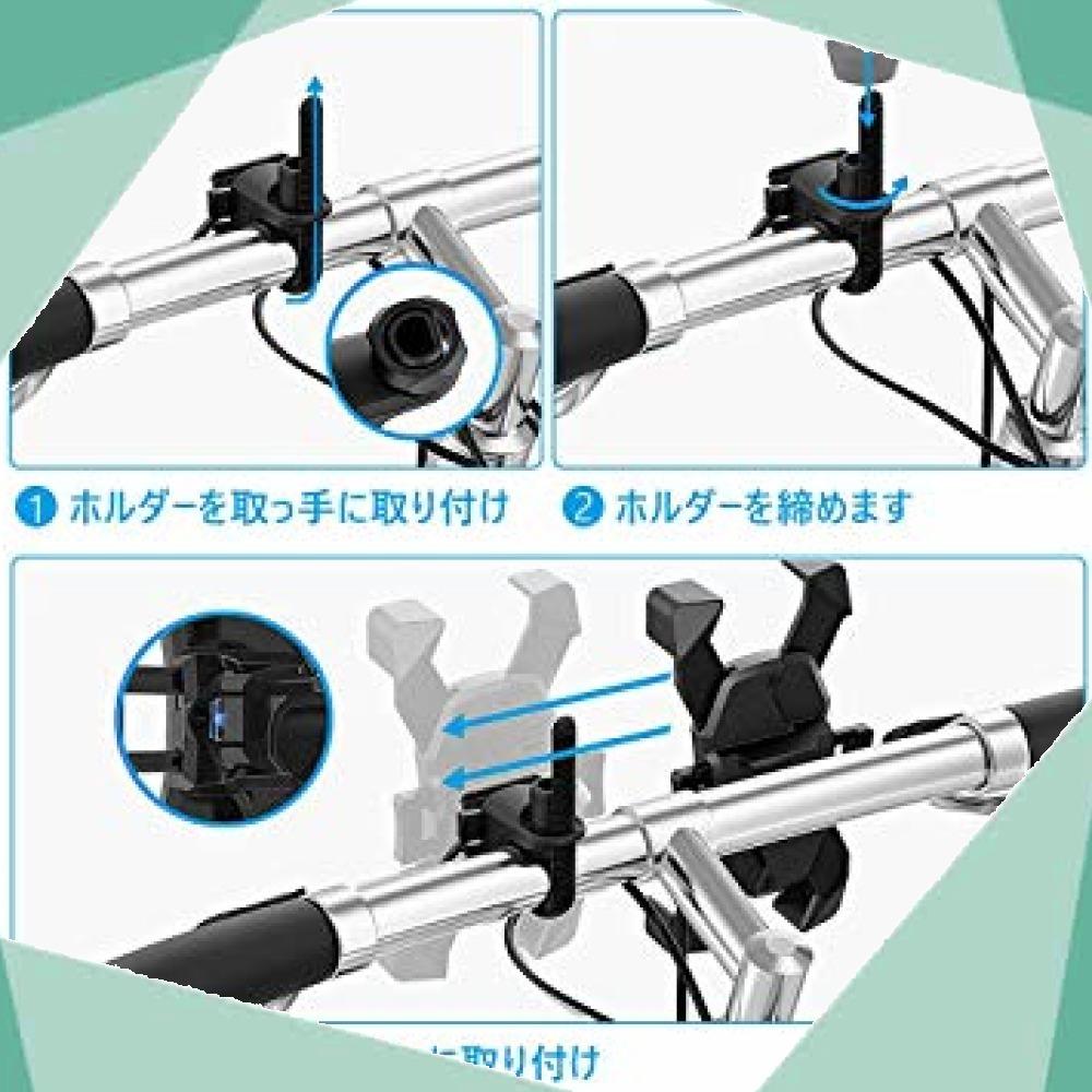 【2019最新版】自転車 スマホ ホルダー、スマホホルダー バイク 1秒ロックアップ ワンボタン開閉 片手操作 360度回転 脱_画像7