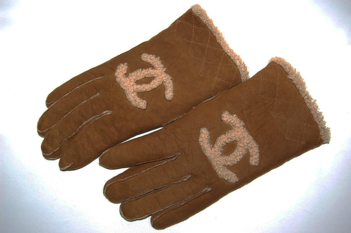 シャネル CHANEL ムートン ココマーク レザー グローブ 手袋 サイズ8 (ブラウン) レディス手袋_画像1
