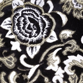 【送料無料】トラック用品 金華山 モンブランローズ 五右衛門 カーテン Lサイズ(横2200x縦720mm) ブラック