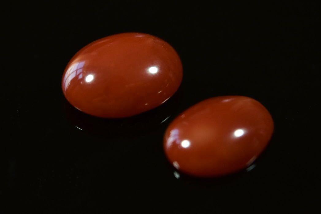 030/高知産血赤珊瑚保証 ルース 指輪アクセサリー用パーツ 2点纏めて 1.2g_画像3