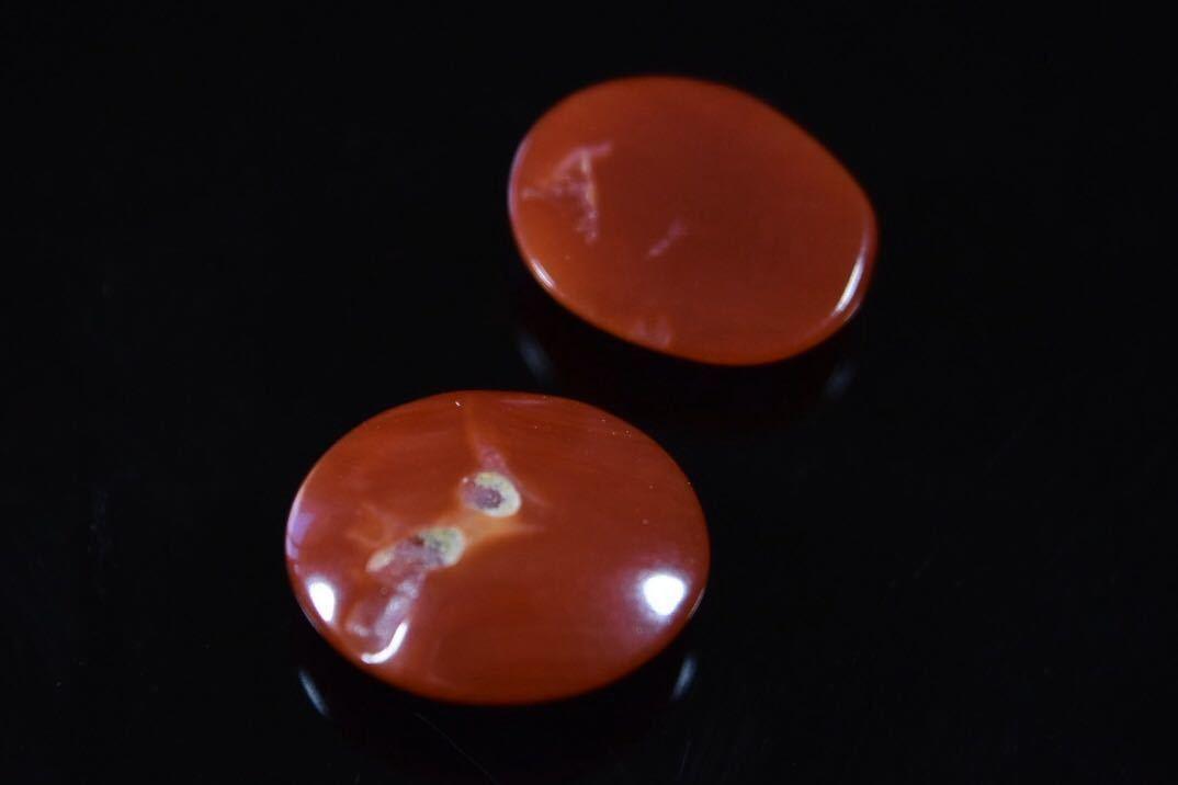 030/高知産血赤珊瑚保証 ルース 指輪アクセサリー用パーツ 2点纏めて 1.2g_画像4
