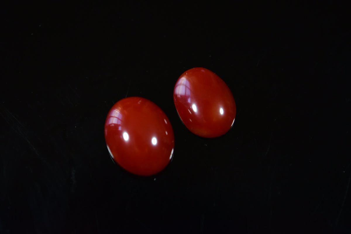 030/高知産血赤珊瑚保証 ルース 指輪アクセサリー用パーツ 2点纏めて 1.2g_画像1
