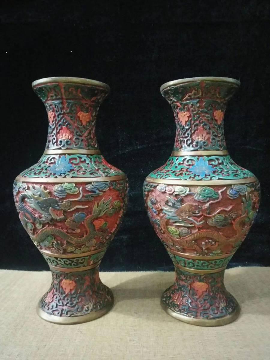 工芸品 漆器の花瓶 一対 清 祥龍戯珠 開運 鎮宅  極細工 擺件  古賞物 傳世家珍 meihao097