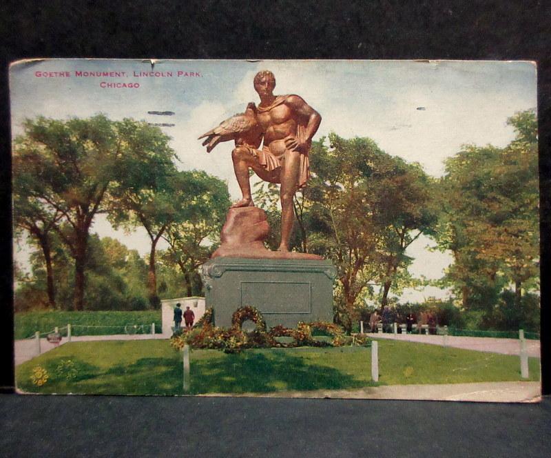1919年 TOKIO JAPAN 中継印(着印)←シカゴ消印 アメリカ 普通切手2¢貼 絵葉書 リンカーンパーク ゲーテの彫像 エンタイア  / 外国切手_画像2