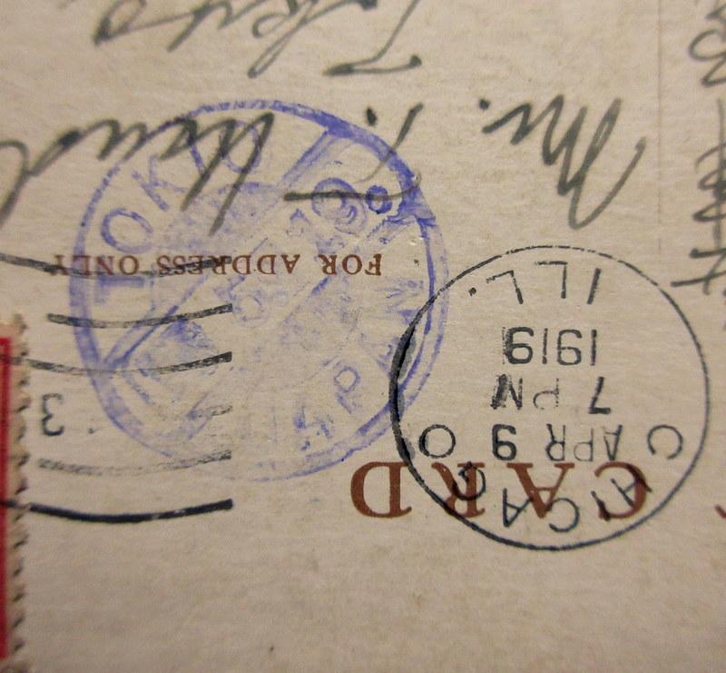 1919年 TOKIO JAPAN 中継印(着印)←シカゴ消印 アメリカ 普通切手2¢貼 絵葉書 リンカーンパーク ゲーテの彫像 エンタイア  / 外国切手_画像4