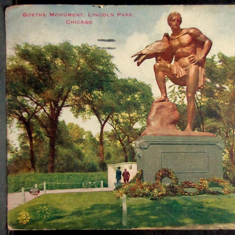 1919年 TOKIO JAPAN 中継印(着印)←シカゴ消印 アメリカ 普通切手2¢貼 絵葉書 リンカーンパーク ゲーテの彫像 エンタイア  / 外国切手_画像6
