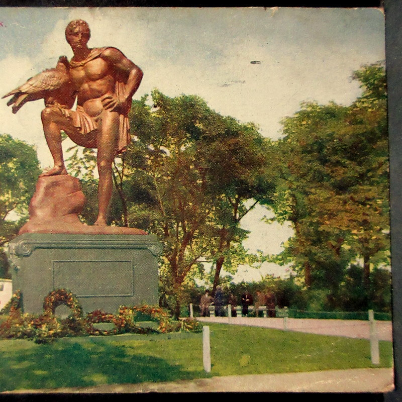 1919年 TOKIO JAPAN 中継印(着印)←シカゴ消印 アメリカ 普通切手2¢貼 絵葉書 リンカーンパーク ゲーテの彫像 エンタイア  / 外国切手_画像7
