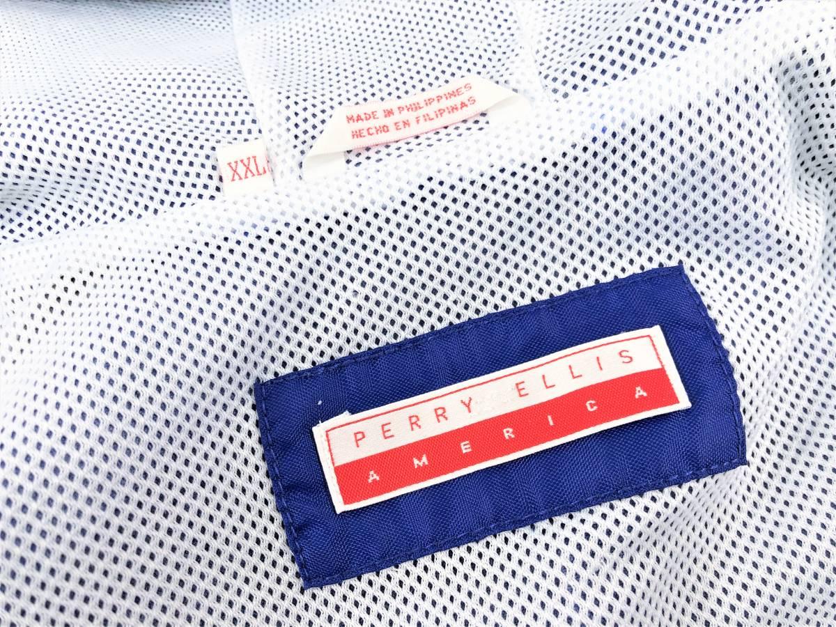 90s PERRY ELLIS AMERICA ペリーエリス ビッグロゴ フーデッドジャケット sizeXXL ビンテージ コーチジャケット アノラック スモック_画像5