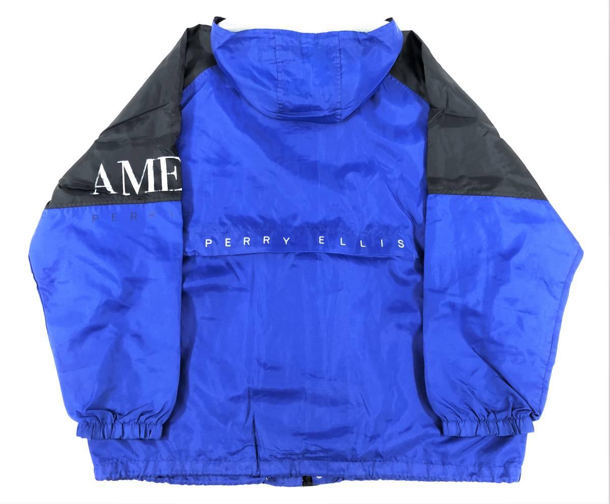 90s PERRY ELLIS AMERICA ペリーエリス ビッグロゴ フーデッドジャケット sizeXXL ビンテージ コーチジャケット アノラック スモック_画像3