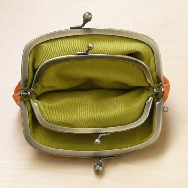 ホースレザー 本革 馬革 日本製 親子 がま口 財布i オレンジ 新品_画像3