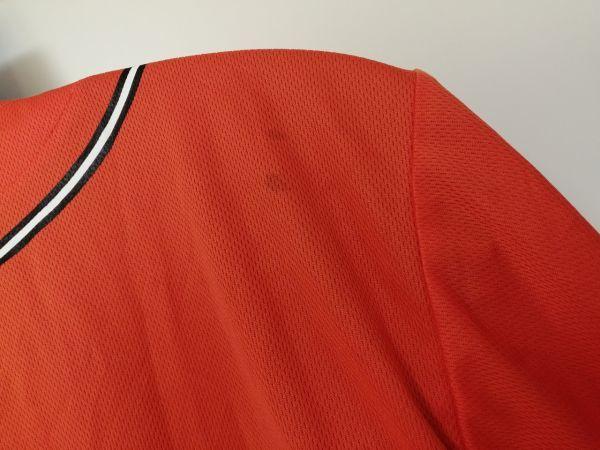 kkyj3288 ■ GIANTS ■ ジャイアンツ adidas アディダス シャツ Tシャツ ユニフォーム 半袖 ドライメッシュ ベースボール 野球 オレンジ L_シミあり
