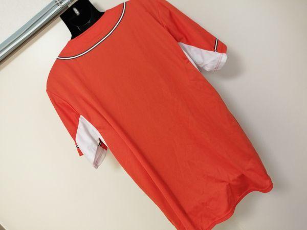 kkyj3288 ■ GIANTS ■ ジャイアンツ adidas アディダス シャツ Tシャツ ユニフォーム 半袖 ドライメッシュ ベースボール 野球 オレンジ L_画像4