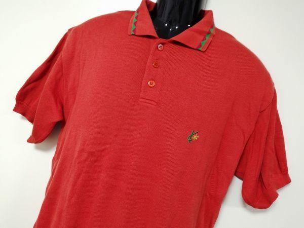 kkyj3317 ■ KENZO ■ ケンゾー ニット ポロシャツ トップス 半袖 コットン オレンジ 3 L_画像2