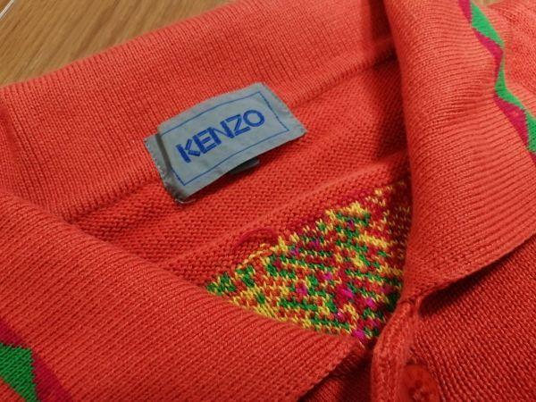 kkyj3317 ■ KENZO ■ ケンゾー ニット ポロシャツ トップス 半袖 コットン オレンジ 3 L_画像9