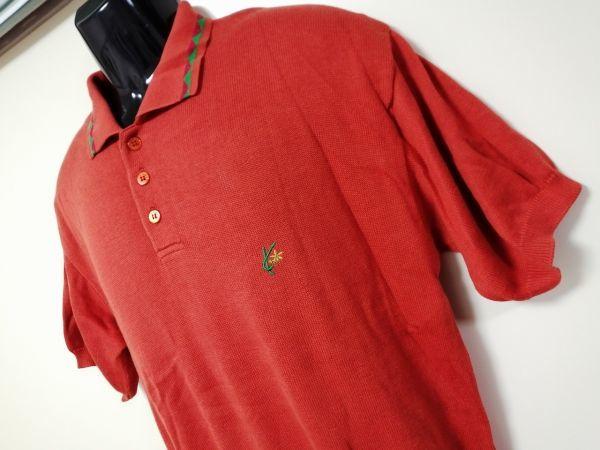 kkyj3317 ■ KENZO ■ ケンゾー ニット ポロシャツ トップス 半袖 コットン オレンジ 3 L_画像4