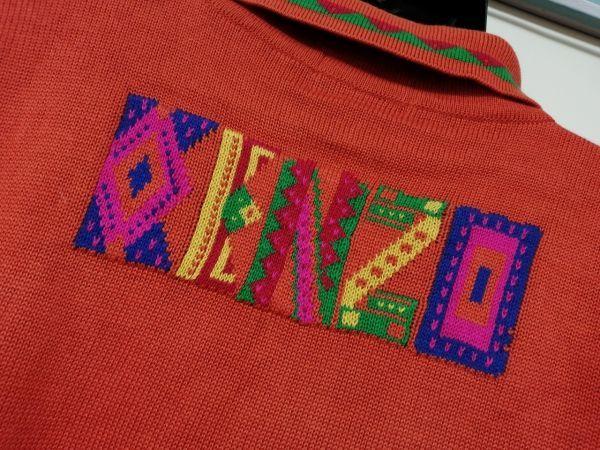 kkyj3317 ■ KENZO ■ ケンゾー ニット ポロシャツ トップス 半袖 コットン オレンジ 3 L_画像6