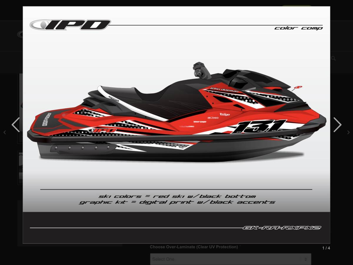 「SEA-DOO RXP 260, 300 IPD ステッカーキット」の画像1