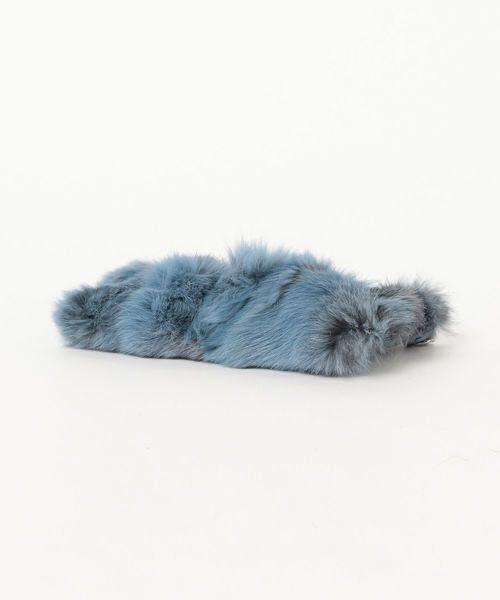 Demi-Luxe BEAMS◆GIANNI NOTAR ラビットファー ミニバッグ ショルダーバッグ デミルクス ビームス クラッチバッグ ポーチ ブルー 美品