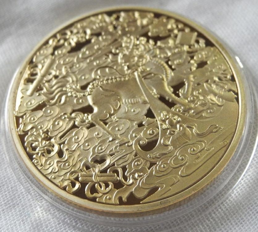 麒麟と財宝 記念メダル コレクションコイン ユニコーン 24KP 1oz 1オンス 金貨 金メダル 日本 干支 龍 プレゼント 縁起物 ボールマーカー_画像2