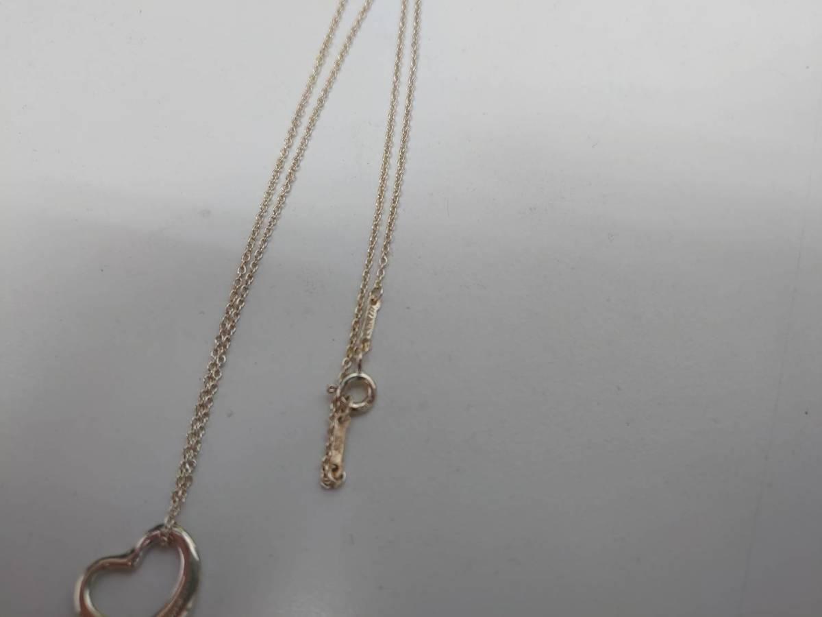 ★中古品 Tiffany&Co. ティファニー シルバー925 オープンハート ネックレス シルバー_画像3