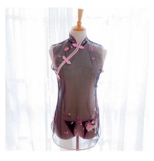 新品 送料無料 L チャイナドレス ミニ 黒 ピンク セクシー ランジェリー シースルー 刺繍 Tバック コスプレ コスチューム 過激 エロかわ_画像10