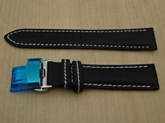 腕時計用ベルト Dバックル カーボン柄ラバー 裏面レザー 20mm 黒/白ステッチ ブラック/ホワイトステッチ バンド_画像1