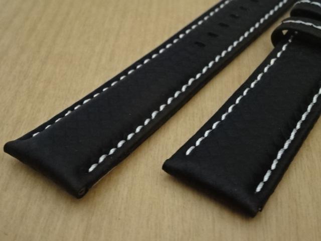 腕時計用ベルト Dバックル カーボン柄ラバー 裏面レザー 20mm 黒/白ステッチ ブラック/ホワイトステッチ バンド_画像3