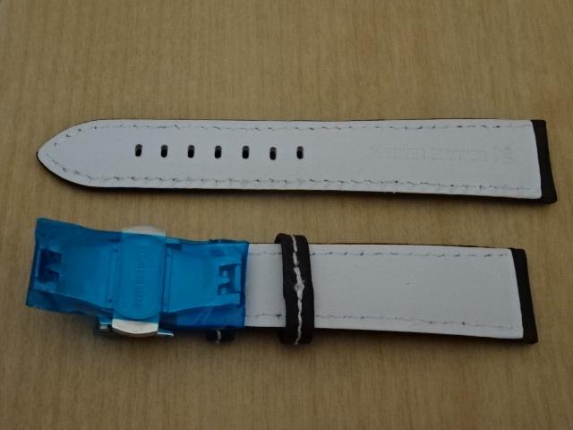 腕時計用ベルト Dバックル カーボン柄ラバー 裏面レザー 20mm 黒/白ステッチ ブラック/ホワイトステッチ バンド_画像4