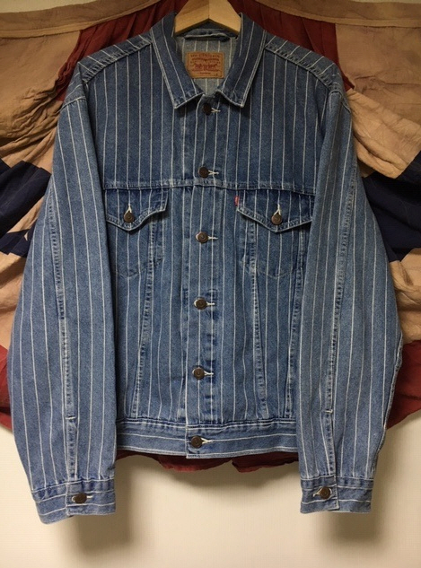SUPREME x LEVIS PINSTRIPE TRUCKER JACKET L north face stone garcons rayon パーカー junya undercover