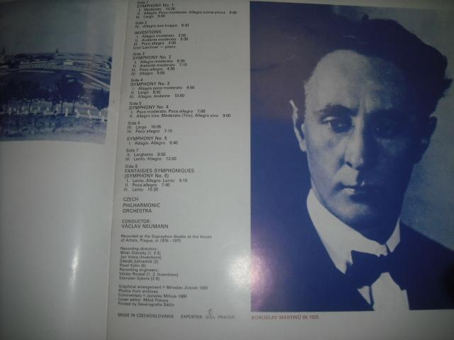 チェコSUPRAPHON 1410 3071/4 ノイマン指揮/マルティーヌ交響曲全集 4LPBox 青銀小字盤_画像3