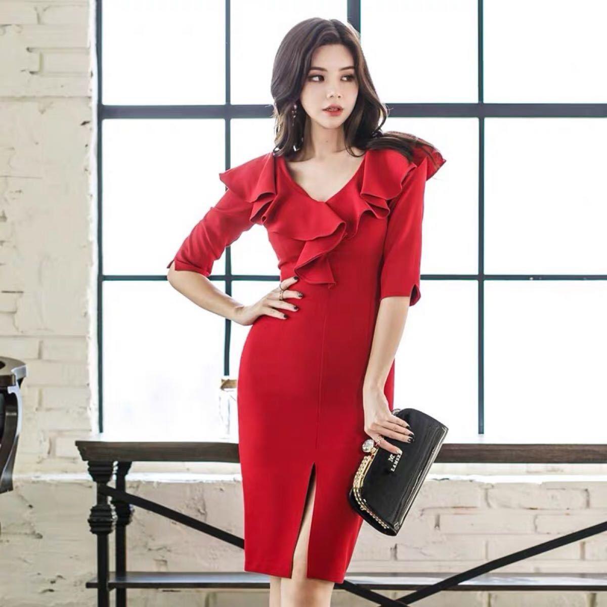 ワンピースドレス タイトワンピース 姫系  5分袖 膝丈韓国ファッションc708