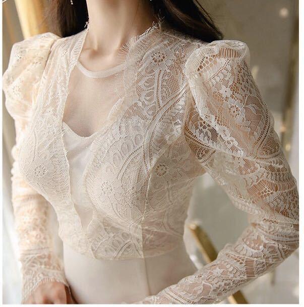 ワンピースドレス タイトワンピース レースワンピース 姫系 膝丈 パーティドレス 韓国ファッションc711_画像7