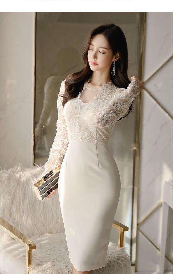 ワンピースドレス タイトワンピース レースワンピース 姫系 膝丈 パーティドレス 韓国ファッションc711_画像9