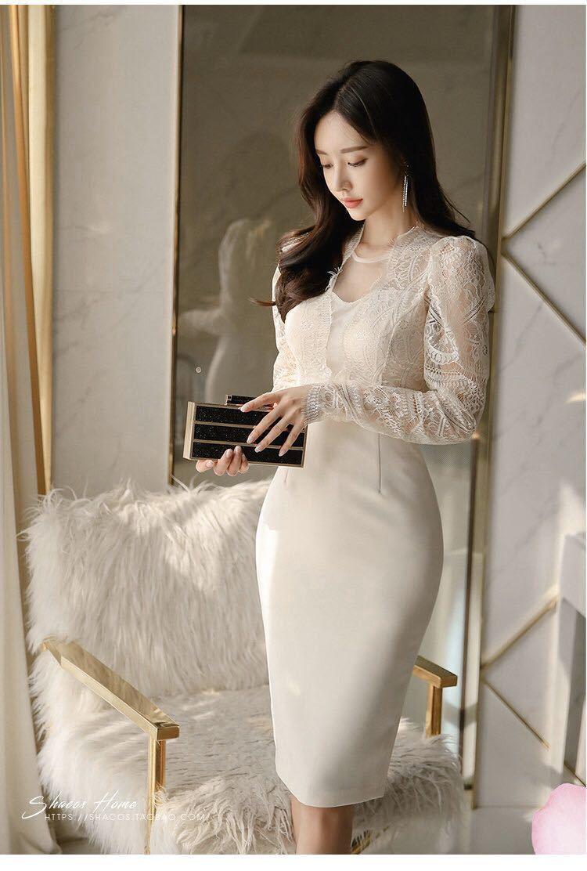 ワンピースドレス タイトワンピース レースワンピース 姫系 膝丈 パーティドレス 韓国ファッションc711_画像6