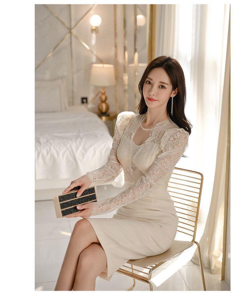 ワンピースドレス タイトワンピース レースワンピース 姫系 膝丈 パーティドレス 韓国ファッションc711_画像10