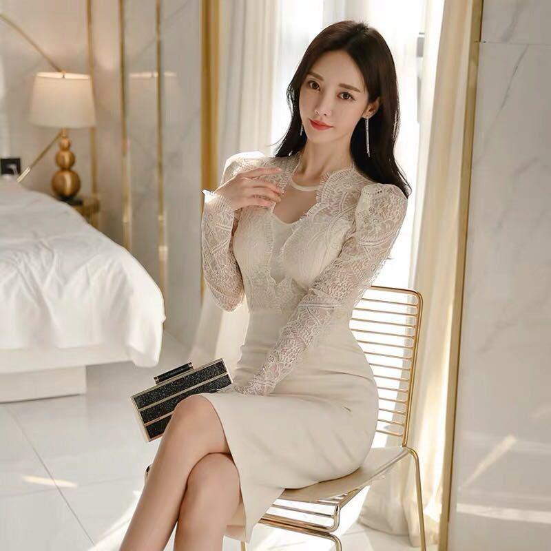 ワンピースドレス タイトワンピース レースワンピース 姫系 膝丈 パーティドレス 韓国ファッションc711_画像2