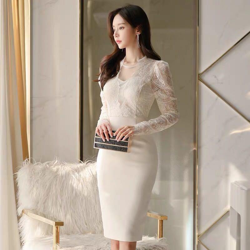 ワンピースドレス タイトワンピース レースワンピース 姫系 膝丈 パーティドレス 韓国ファッションc711_画像3