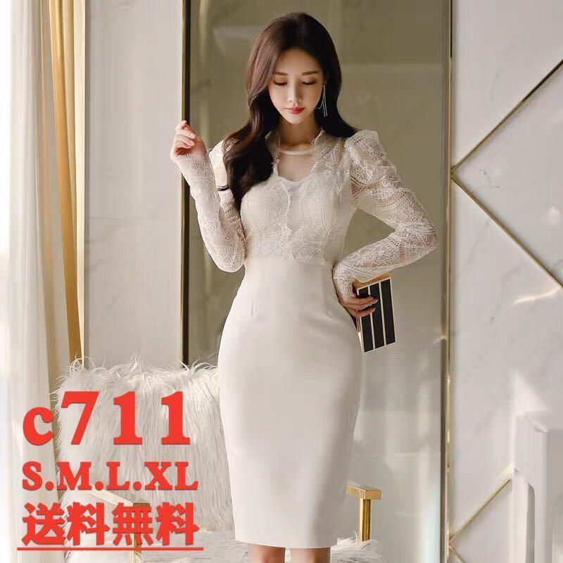 ワンピースドレス タイトワンピース レースワンピース 姫系 膝丈 パーティドレス 韓国ファッションc711_画像1