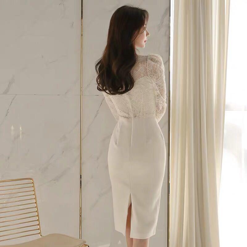 ワンピースドレス タイトワンピース レースワンピース 姫系 膝丈 パーティドレス 韓国ファッションc711_画像4