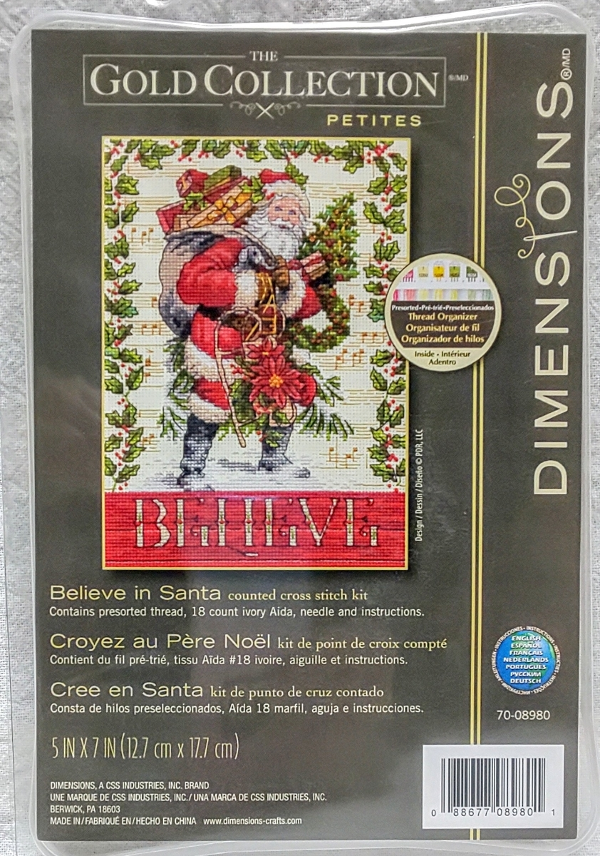 Dimensions クロスステッチキット■サンタクロース Believe in Santa クリスマス アメリカ 直輸入刺繍キット