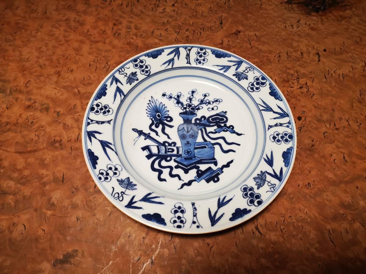 唐物 染付清供図皿 古伊万里鉄瓶銀瓶花瓶花生中国古玩唐物煎茶碗香炉皿中国古美術